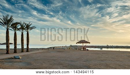 Central public beach in Eilat - famous resort city in Israel