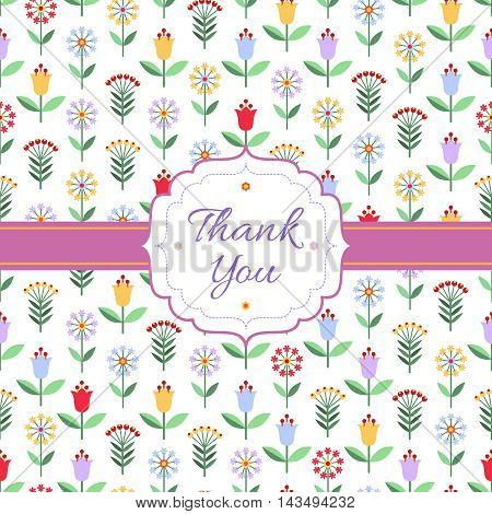 Thank you background with multicolored flowers berries frame and text on white