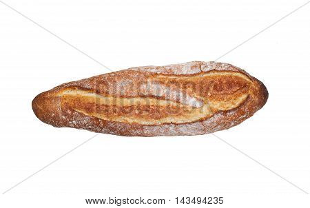 Fresh long loaf isolated on a white background