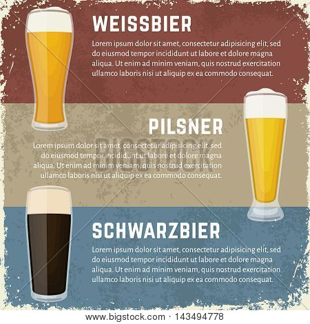 Vintage craft beer banners in dirty grunge style. Vector illustration of German beer styles. Glasses of weissbier (wheat ale), schwarzbier (black lager) and pilsner lager.