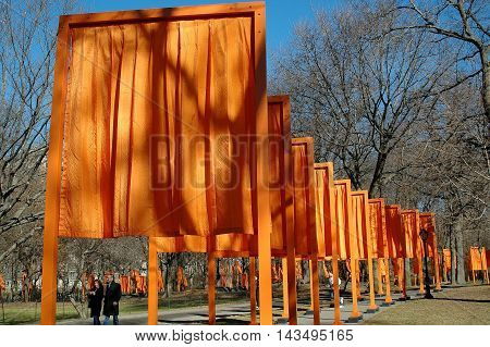 New York City - February 13 2005: Christo's public art installation The Gates in Central Park