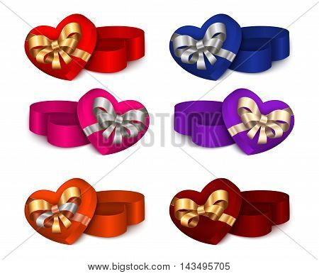 Illustration of colorful heart shaped gift boxes with bows and ribbons