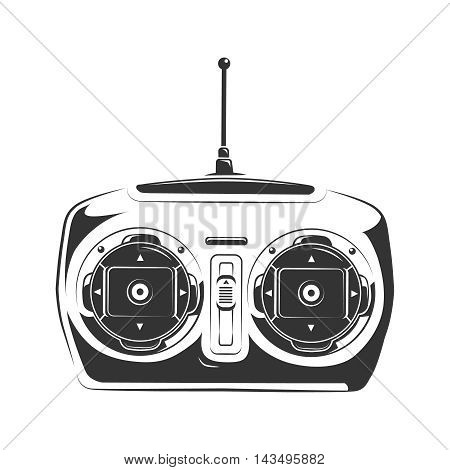 vector illustration of remote controller to control airplane, car or quadcopter. Monochrome picture isolate on white background