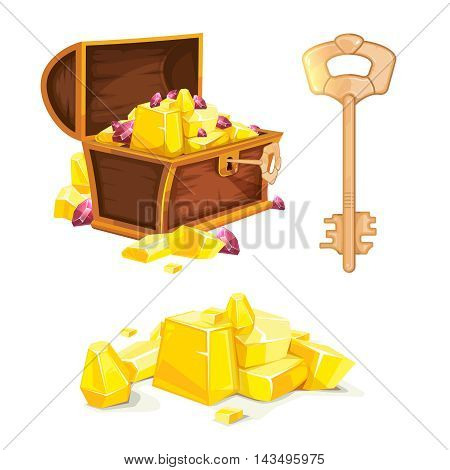 vector illustration of vintage wooden open chest with gold and ruby. Key from chest. Pictures isolated on white background. Design for 2D game UI