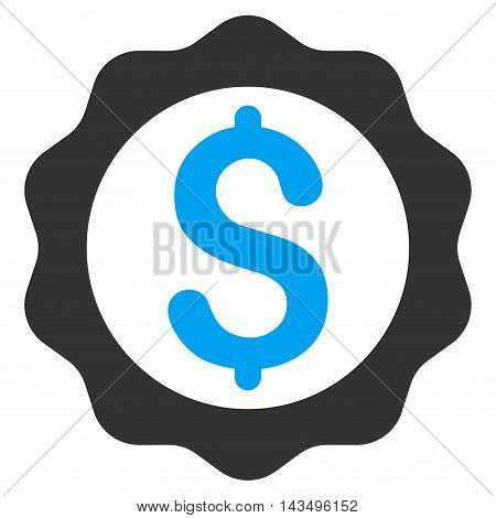 Banking Seal Stamp icon. Vector style is bicolor flat iconic symbol with rounded angles, blue and gray colors, white background.