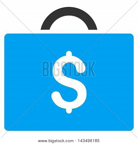Briefcase icon. Vector style is bicolor flat iconic symbol with rounded angles, blue and gray colors, white background.