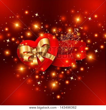 Illustration of heart shaped gift box with bow ribbons cupid and glitter background