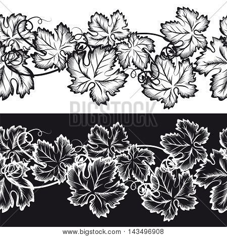 Ornamental seamless borders with grape leaves. Natural ornament set vector
