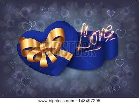 Illustration of heart shaped gift box with bow ribbons love lettering and bokeh background