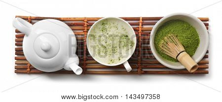 Green matcha tea set on white background