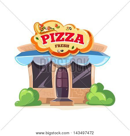 vector illustration of pizzeria restaurant building block isolate on whte background