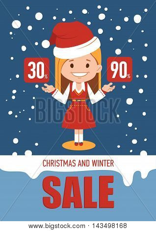 Christmas and winter sale, holiday banner with woman seller in Santa Clause costume. Vector illustration