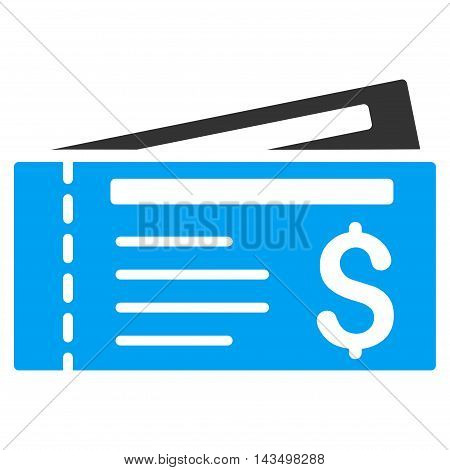 Tickets icon. Vector style is bicolor flat iconic symbol with rounded angles, blue and gray colors, white background.