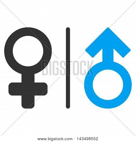 WC Gender Symbols icon. Vector style is bicolor flat iconic symbol, blue and gray colors, white background.