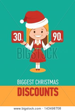 Giggest Christmas discounts, holiday banner with woman seller in Santa Clause costume. Vector illustration
