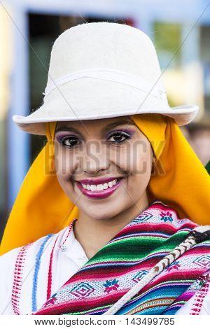 QUARTU S.E. ITALY - July 15 2016: 30 ^ Sciampitta - International festival of folklore - Folk Ballet de la Universidad La Paz (Bolivia) - Sardinia