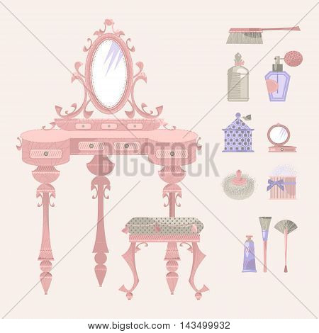 Dressing table with a mirror and a chair. Retro style. Art deco. Vector illustration.