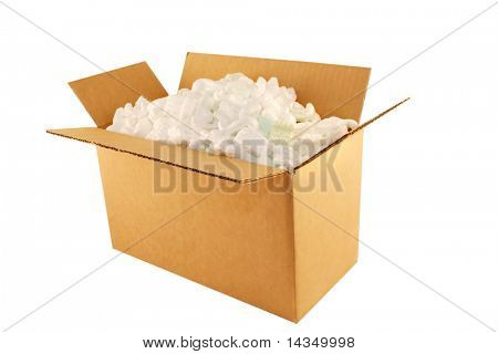 Cardboard box filled with styrofoam peanuts, isolated on white.