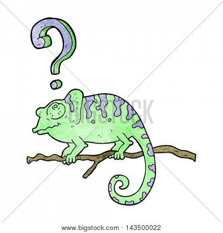 freehand textured cartoon curious chameleon