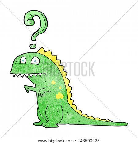 freehand textured cartoon confused dinosaur