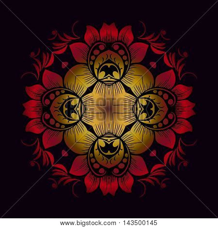 Red Flower Decor Round Shape black background. Abstraction. Vector.