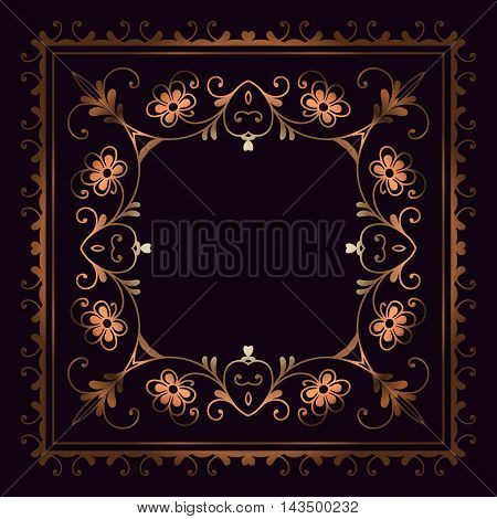 abstract floral vintage bronze decor design element on the basis of a symmetrical geometric figures in the frame