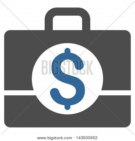 Business Case icon. Glyph style is bicolor flat iconic symbol with rounded angles, cobalt and gray colors, white background.