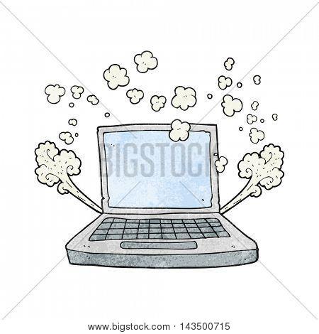 freehand textured cartoon laptop computer fault