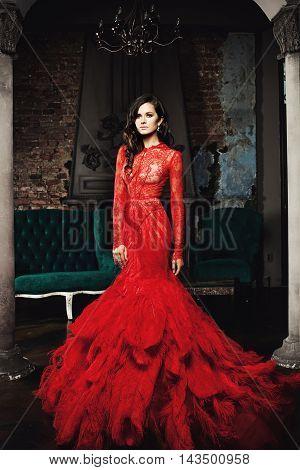 Beautiful Brunette Woman in the dark Palace