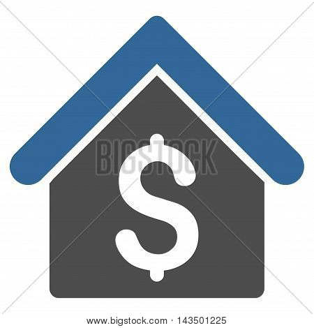 House Rent icon. Glyph style is bicolor flat iconic symbol with rounded angles, cobalt and gray colors, white background.