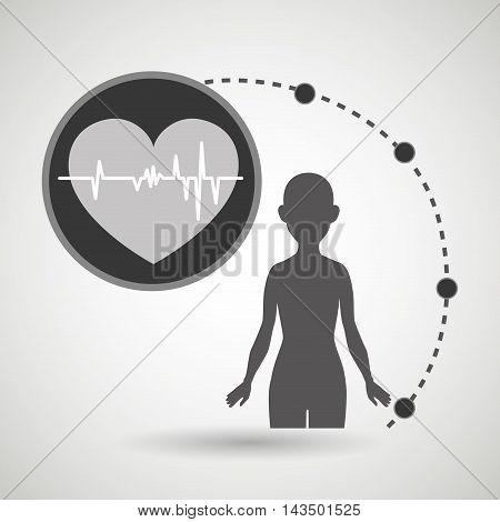 silhouette woman healthy medicine vector illustration icon