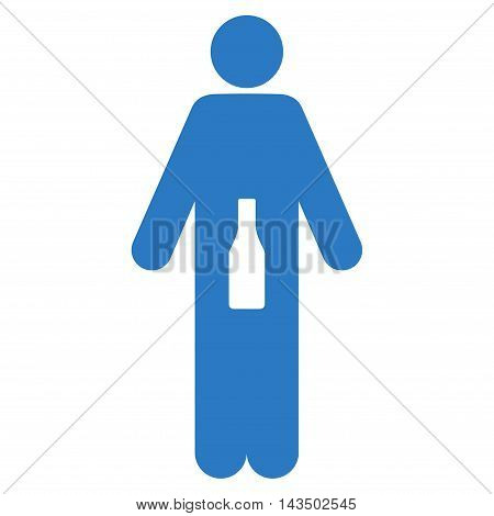 WC Man icon. Glyph style is flat iconic symbol, smooth blue color, white background.