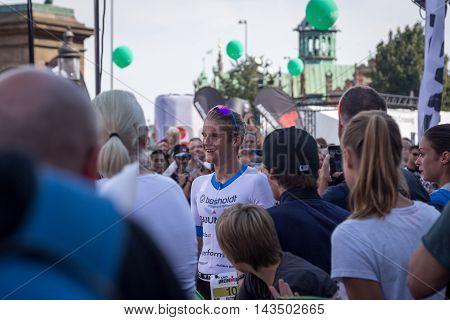 Copenhagen, Denmark - August 21, 2016: A happy Patrik Nilsson just after winning the KMD Ironman Copenhagen 2016 in only 07:49:18
