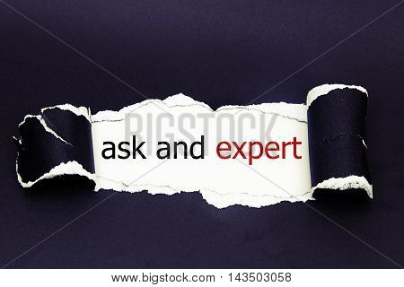 ask and expert message written under torn paper