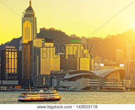 Hong Kong skyline in sunset