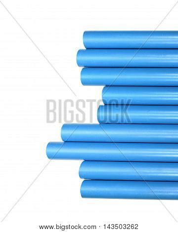 Blue pvc pipe connection isolated on white background.