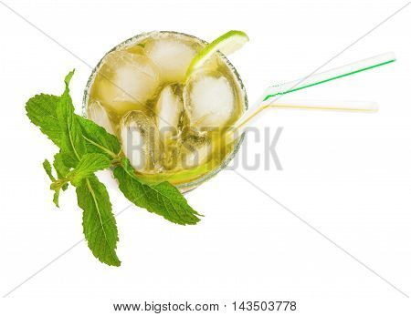 Glass of mojito cocktail isolated over white background. Top view.