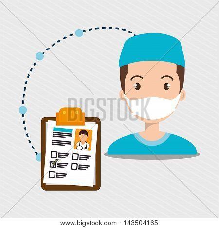 man staff medical service vector illustration design