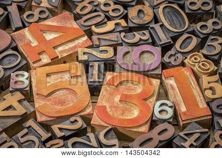 numbers background - vintage letterpress wood type printing blocks (mirror image)