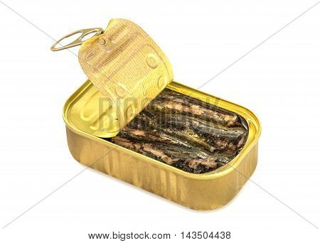 Open can of sardines in olive oil isolated over white.