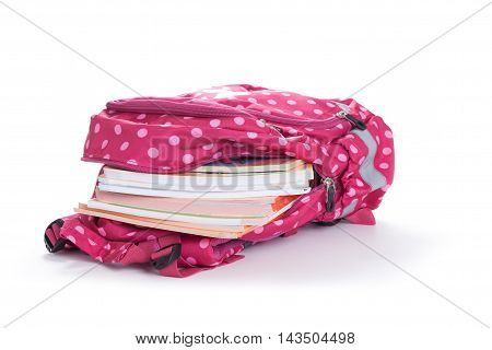 Purple Backpack With School Supplies Isolated On White Background