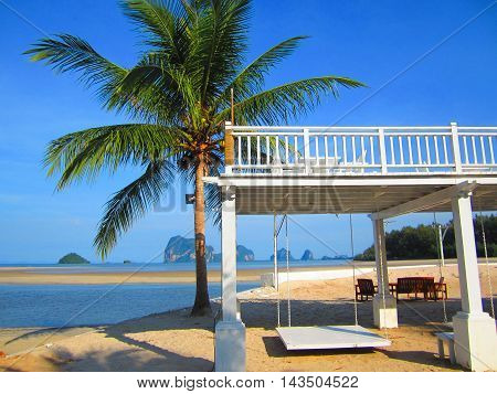 White swing with coconut palms and the white sand beach.