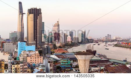 HO CHI MINH, VIETNAM - JAN 20, 2016: View center of city from the windows of the house. Although the city takes up just 0.6% of the country's land area, it contains 8.34% of the population of Vietnam.