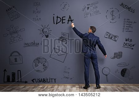 Businessman drawing plan on gray wall. Business project concept.