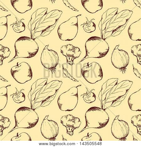 Vegetable fruit monochrome ink hand drawn seamless pattern texture background