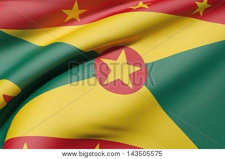 3d rendering of Grenada country flag waving