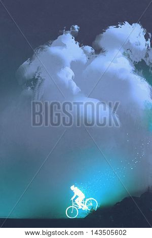 glowing man ride a bicycle against the night sky with clouds, illustration painting