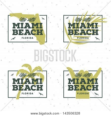 Miami beach florida t-shirt graphics. Summer vacation related apparel design. Stay salty lettering quote. Vector vintage illustration.
