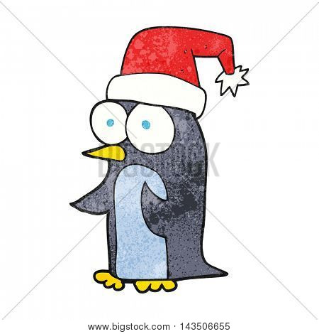 freehand textured cartoon christmas penguin