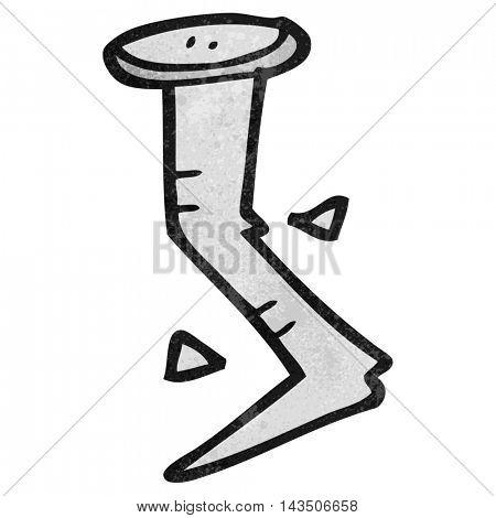 freehand textured cartoon bent nail